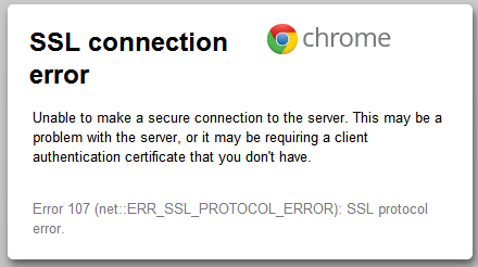 Text of Chrome error message