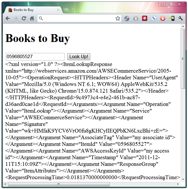 Page showing XML response from AWS